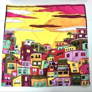 "Zara Colorful Graphic City Scarf  21"" x 21"""